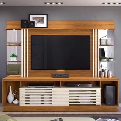 Estante Home Theater Para TV até 55 Pol. Frizz Gold Naturale/Off White - Madetec