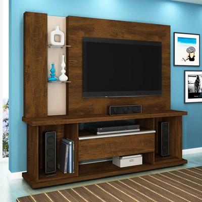 Estante Home Theater Para TV até 55 Pol. Onix Canela/Vanilla - Lukaliam Móveis