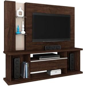 Estante Home Theater Para TV até 55 Pol. Onix Noce/Vanilla - Lukaliam Móveis