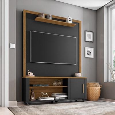 Estante Home Theater Para TV Até 55 Pol. Smart Preto Fosco/Cinamomo - Bechara