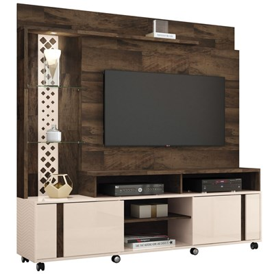 Estante Home Theater Para TV até 55 Pol. Vitral Deck/Off White - HB Móveis