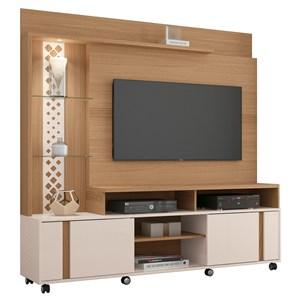 Estante Home Theater Para TV até 55 Pol. Vitral Freijó/Off White - HB Móveis