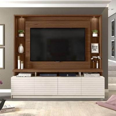 Estante Home Theater para TV até 60 Pol. com LED Acácia Caiena/Creme - Dj Móveis