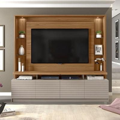 Estante Home Theater para TV até 60 Pol. com LED Acácia Carvalho Europeu/Amarula - Dj Móveis