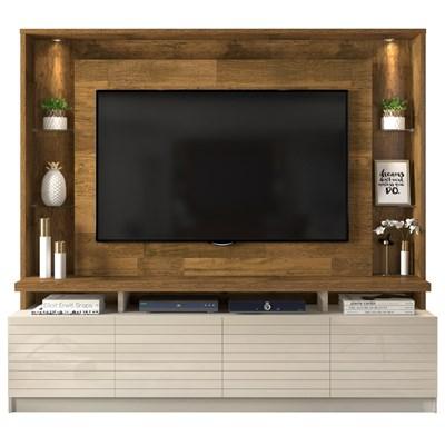 Estante Home Theater para TV até 60 Pol. com LED Acácia Tronco Ripado/Creme - Dj Móveis