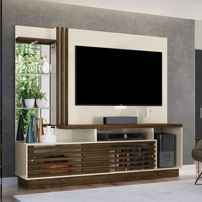 Estante Home Theater Para TV até 60 Pol. Frizz Plus Off White/Savana - Madetec