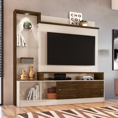 Estante Home Theater Para TV Até 60 Pol. Frizz Prime Off White/Savana - Madetec