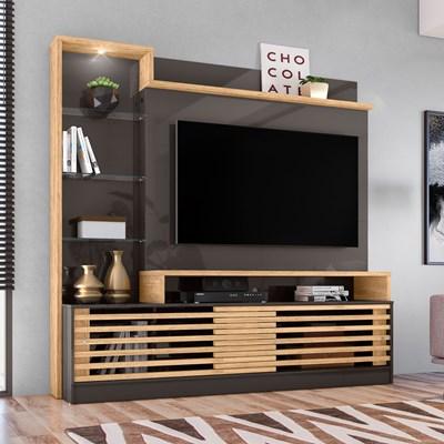Estante Home Theater Para TV Até 60 Pol. Frizz Prime Titânio/Carvalho - Madetec