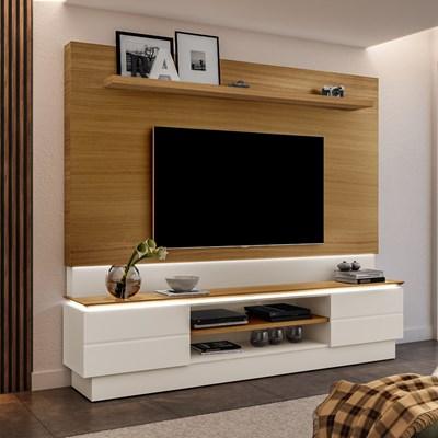 Estante Home Theater Para TV Até 60 Pol. London Carvalho/Off White - Móveis Lupi