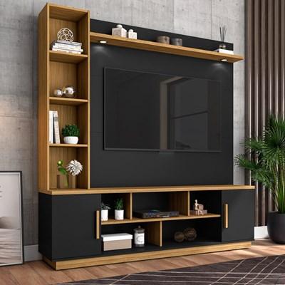 Estante Home Theater Para TV Até 60 Pol. Prestige Preto Fosco/Cinamomo - Bechara