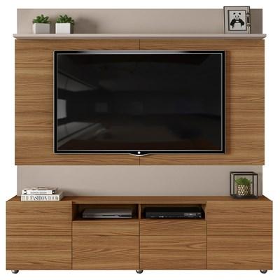 Estante Home Theater para TV até 65 Pol. 4 Portas Apolo Carvalho Europeu/Amarula - Dj Móveis