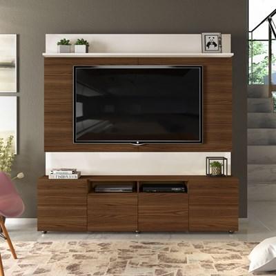 Estante Home Theater para TV até 65 Pol. 4 Portas Apolo Creme/Caiena - Dj Móveis