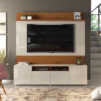 Estante Home Theater para TV até 65 Pol. 4 Portas Apolo Telha/Creme - Dj Móveis