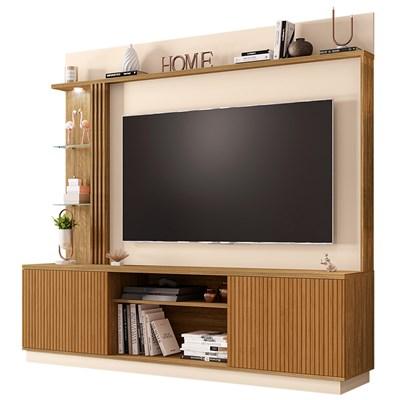 Estante Home Theater Para TV Até 65 Pol. Atlanta Cinamomo/Off White/Ripado - Bechara
