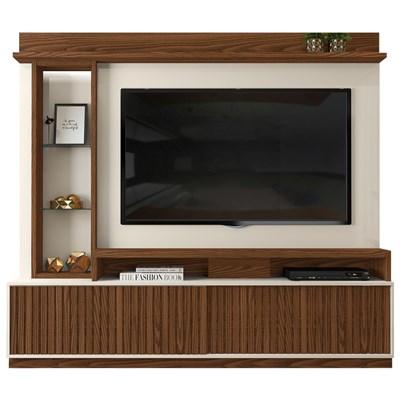 Estante Home Theater para TV até 65 Pol. com LED 2 Portas Toti Caiena/Creme - Dj Móveis