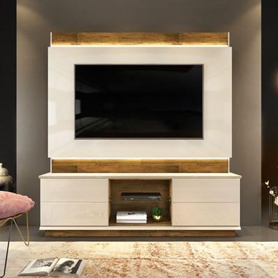 Estante Home Theater para TV até 65 Pol. com LED Pollu Creme/Tronco Ripado - Dj Móveis