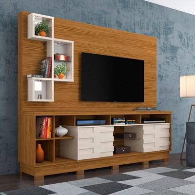 Estante Home Theater Para TV Até 65 Pol. Com Pés Heitor Naturale/Off White - Madetec