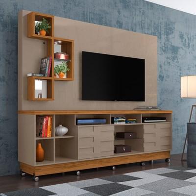 Estante Home Theater Para TV Até 65 Pol. Com Rodízios Heitor Fendi/Naturale - Madetec
