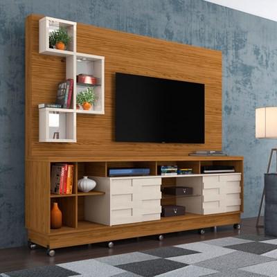Estante Home Theater Para TV Até 65 Pol. Com Rodízios Heitor Naturale/Off White - Madetec