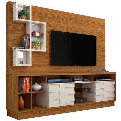 Estante Home Theater Para TV Até 65 Pol. Heitor Naturale/Off White - Madetec