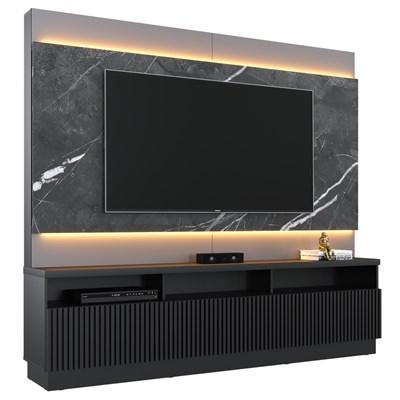 Estante Home Theater para TV até 70 Pol. com LED e Espelho Paraíso C05 Preto/Grigio - Mpozenato