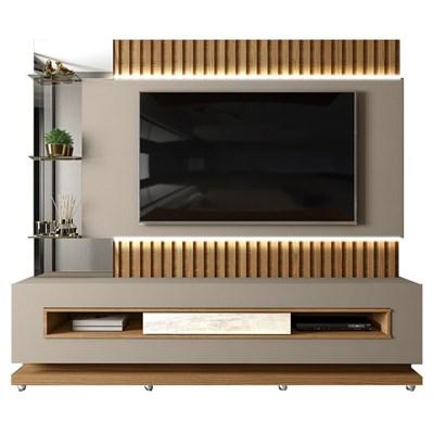 Estante Home Theater Ripado para TV até 60 Pol. com LED Lumus Amarula/Carvalh Europeu - Dj Móveis