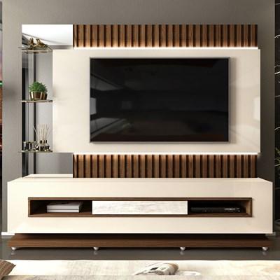 Estante Home Theater Ripado para TV até 60 Pol. com LED Lumus Creme/Caiena - Dj Móveis