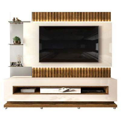Estante Home Theater Ripado para TV até 60 Pol. com LED Lumus Creme/Tronco Ripado - Dj Móveis