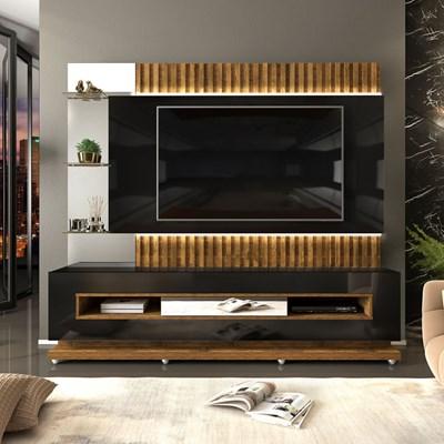 Estante Home Theater Ripado para TV até 60 Pol. com LED Lumus Preto Gloss/Tronco Ripado - Dj Móveis