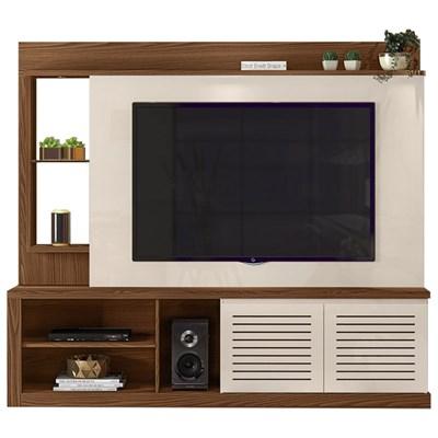 Estante Home Theater TV até 70 Pol. com LED e Espelho Paládio Caiena/Creme - Dj Móveis