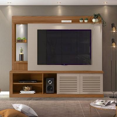 Estante Home Theater TV até 70 Pol. com LED e Espelho Paládio Carvalho Europeu/Amarula - Dj Móveis