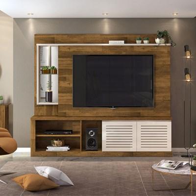 Estante Home Theater TV até 70 Pol. com LED e Espelho Paládio Tronco Ripado/Creme - Dj Móveis