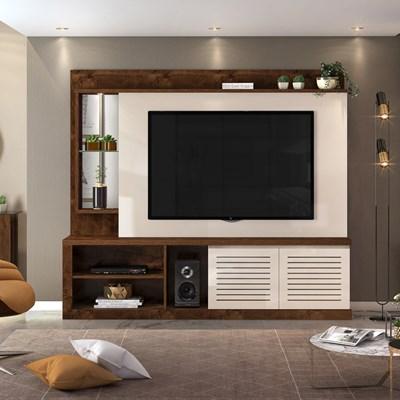 Estante Home Theater TV até 70 Pol. com LED e Espelho Paládio Trufa/Creme - Dj Móveis