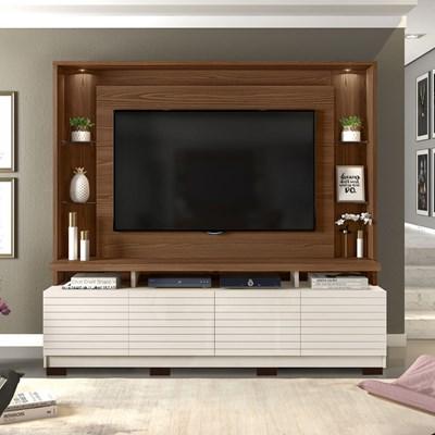 Estante Home Theather para TV até 60 Pol. com LED 8 Pés Acácia Caiena/Creme - Dj Móveis