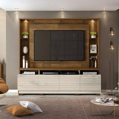 Estante Home Theather para TV até 60 Pol. com LED 8 Pés Acácia Tronco Ripado/Creme - Dj Móveis