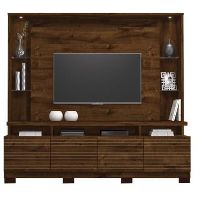 Estante Home Theather para TV até 60 Pol. com LED 8 Pés Acácia Trufa - Dj Móveis