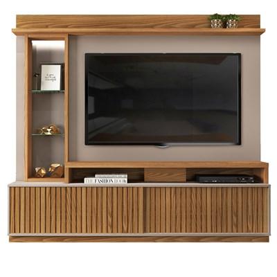 Estante Home Theather para TV até 65 Pol. com LED 2 Portas Toti Carvalho Europeu/Amarula - Dj Móveis