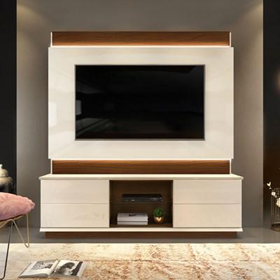 Estante Home Theather para TV até 65 Pol. com LED Pollu Creme/Cinamomo Castanne - Dj Móveis