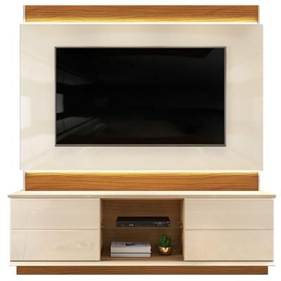 Estante Home Theather para TV até 65 Pol. com LED Pollu Creme/Cinamomo Mel - Dj Móveis