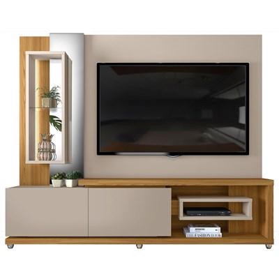 Estante Home Theather para TV até 65 Pol. LED 2 Gavetas Onduras Amarula/Carvalho Europeu - Dj Móveis