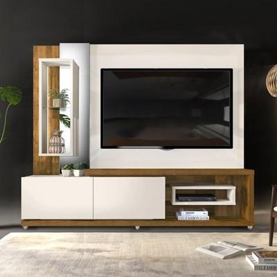 Estante Home Theather para TV até 65 Pol. LED 2 Gavetas Onduras Creme/Tronco Ripado - Dj Móveis