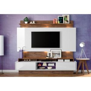 Estante Home Theather para TV com Led TB113L Off White/Nobre - Dalla Costa