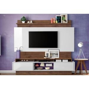 Estante Home Theather para TV TB113 Off White/Nobre - Dalla Costa