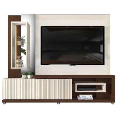 Estante Home Theather TV até 65 Pol. LED Gavetas Frisos 3D Onduras Creme/Cinamomo Castanne - Dj Móveis