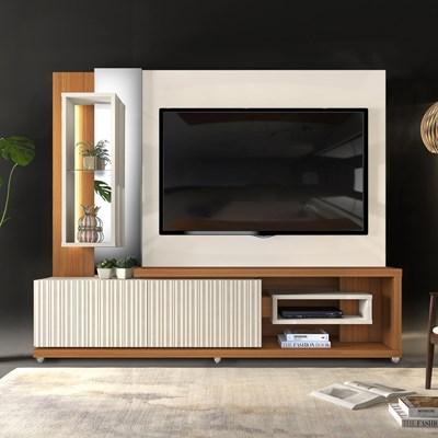 Estante Home Theather TV até 65 Pol. LED Gavetas Frisos 3D Onduras Creme/Cinamomo Mel - Dj Móveis