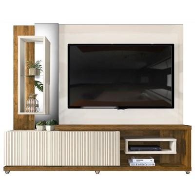 Estante Home Theather TV até 65 Pol. LED Gavetas Frisos 3D Onduras Creme/Tronco Ripado - Dj Móveis