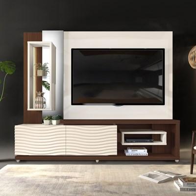 Estante Home Theather TV até 65 Pol. LED Gavetas Ondas 3D Onduras Creme/Cinamomo Castanne - Dj Móveis