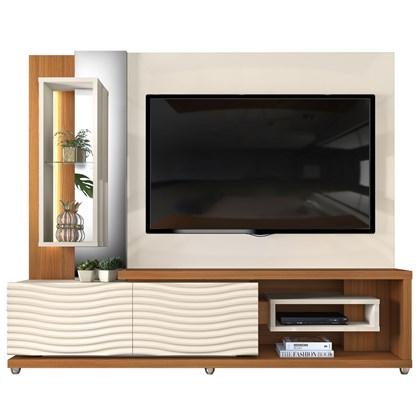 Estante Home Theather TV até 65 Pol. LED Gavetas Ondas 3D Onduras Creme/Cinamomo Mel - Dj Móveis