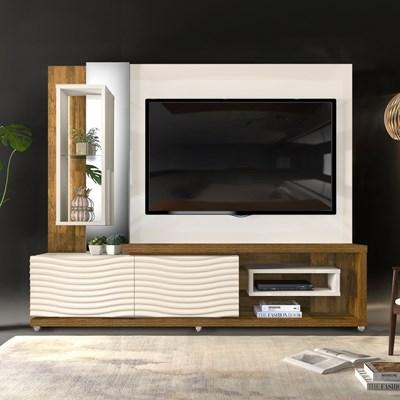 Estante Home Theather TV até 65 Pol. LED Gavetas Ondas 3D Onduras Creme/Tronco Ripado - Dj Móveis