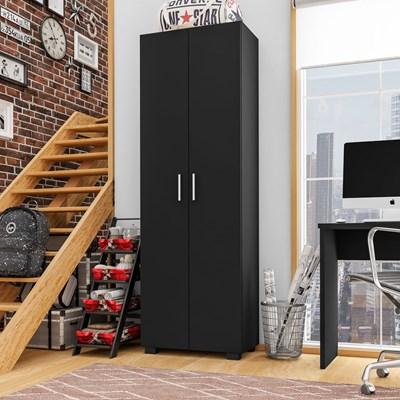 Estante Livreiro 2 Portas Office Preto Black – Móveis Leão